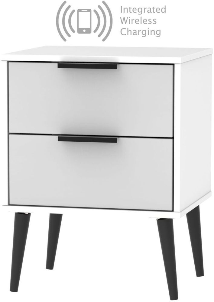 Hong Kong 2 Drawer Bedside Cabinet with Wooden Legs and Integrated Wireless Charging - Grey and White