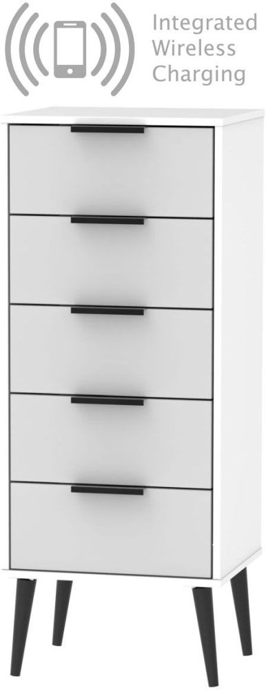 Hong Kong Tall Bedside Cabinet with Wooden Legs and Integrated Wireless Charging - Grey and White