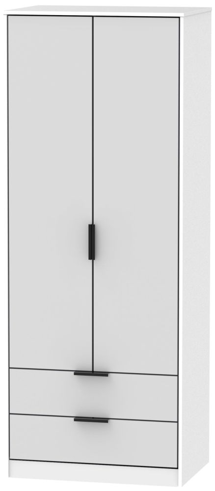 Hong Kong 2 Door 2 Drawer Wardrobe - Grey and White