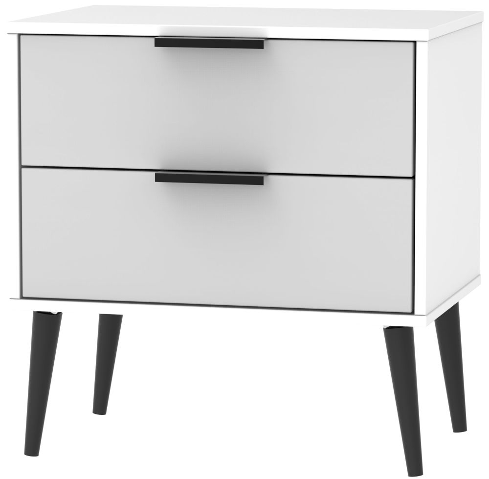 Hong Kong 2 Drawer Midi Chest with Wooden Legs - Grey and White