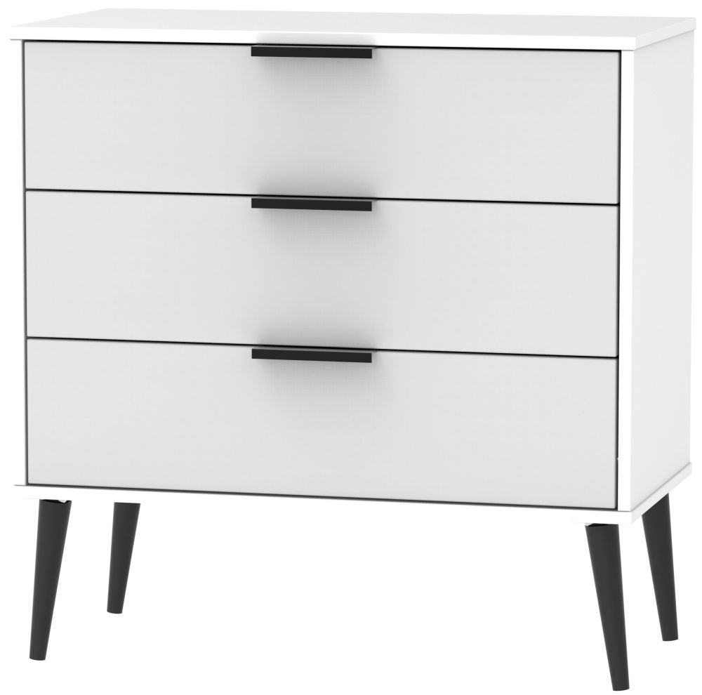 Hong Kong 3 Drawer Midi Chest with Wooden Legs - Grey and White