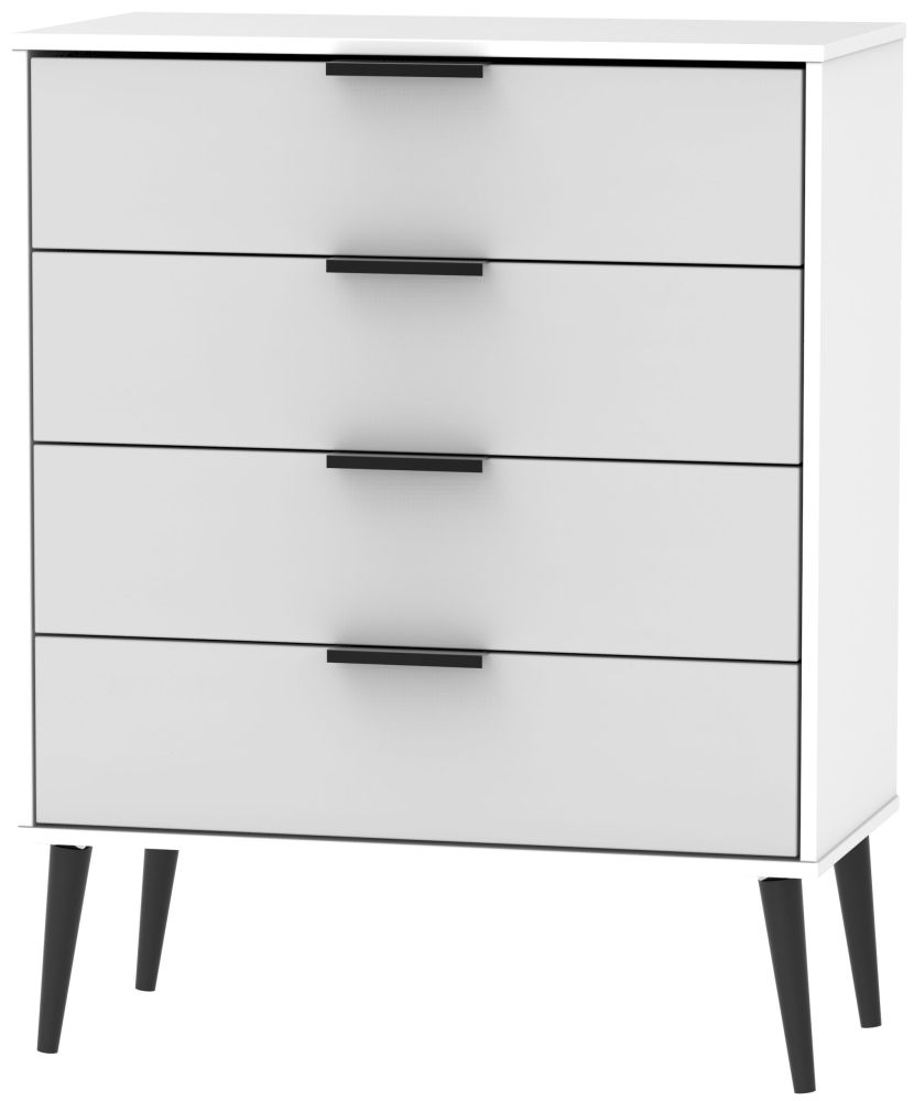 Hong Kong 4 Drawer Chest with Wooden Legs - Grey and White