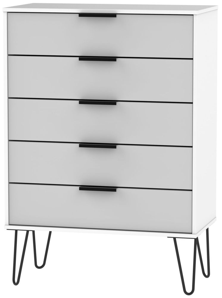 Hong Kong 5 Drawer Chest with Hairpin Legs - Grey and White