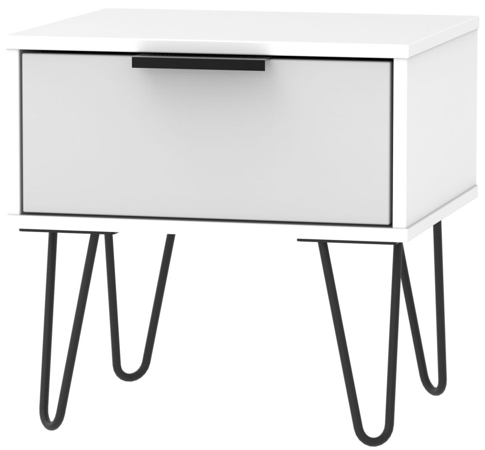 Hong Kong 1 Drawer Bedside Cabinet with Hairpin Legs - Grey and White