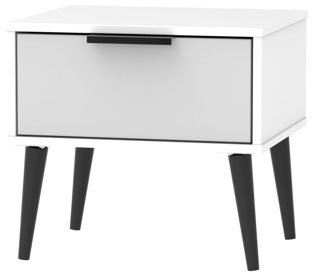 Hong Kong 1 Drawer Bedside Cabinet with Wooden Legs - Grey and White