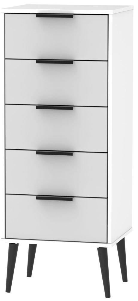 Hong Kong Tall Bedside Cabinet with Wooden Legs - Grey Matt and White