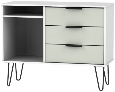Hong Kong 3 Drawer TV Unit with Hairpin Legs - Kaschmir and White