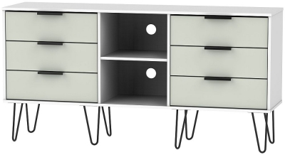 Hong Kong 6 Drawer TV Unit with Hairpin Legs - Kaschmir and White