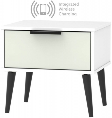 Hong Kong 1 Drawer Bedside Cabinet with Wooden Legs and Integrated Wireless Charging - Kaschmir and White
