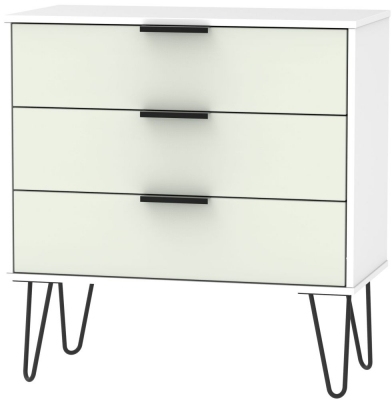 Hong Kong 3 Drawer Midi Chest with Hairpin Legs - Kaschmir and White