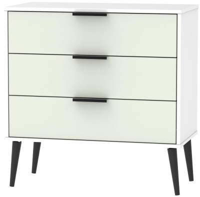 Hong Kong 3 Drawer Midi Chest with Wooden Legs - Kaschmir and White