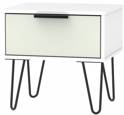 Hong Kong 1 Drawer Bedside Cabinet with Hairpin Legs - Kaschmir and White