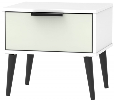 Hong Kong 1 Drawer Bedside Cabinet with Wooden Legs - Kaschmir and White
