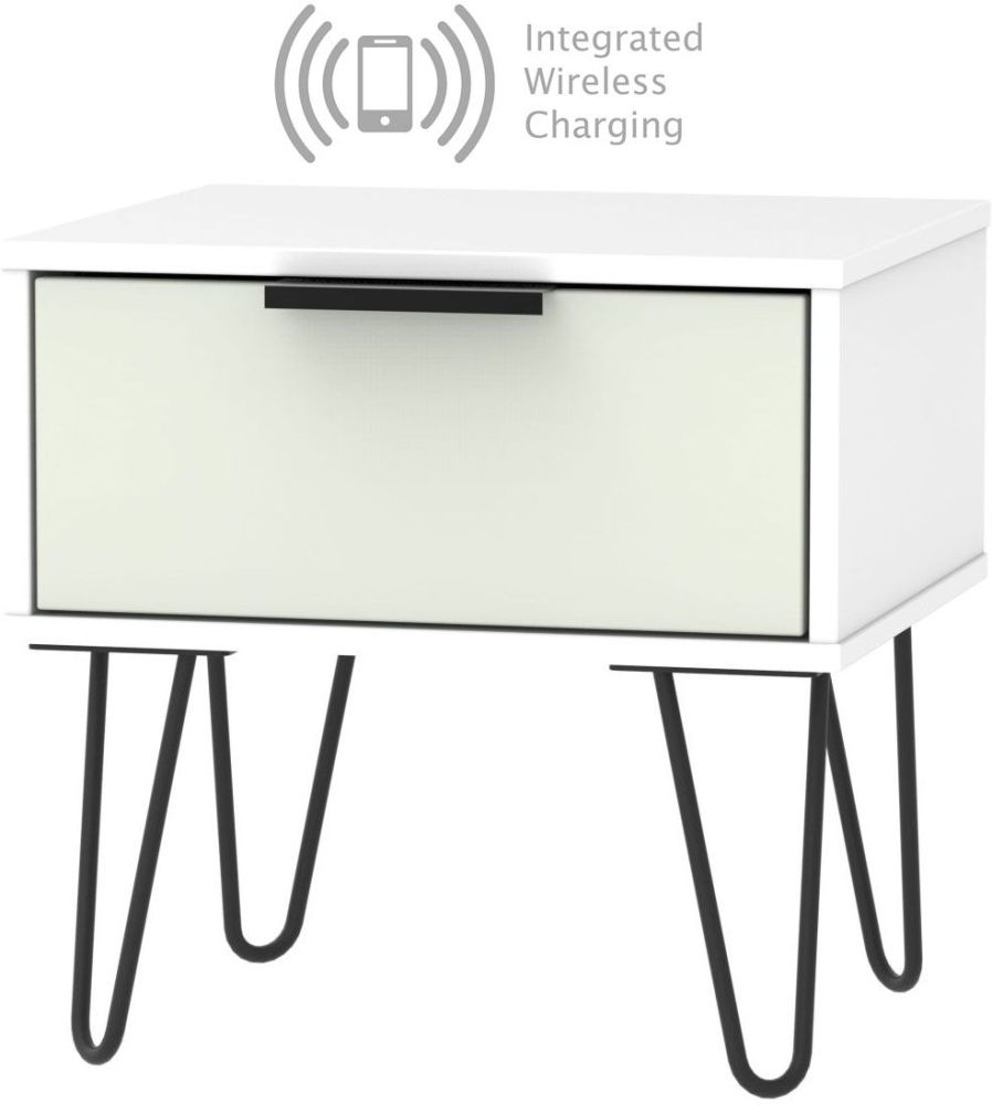 Hong Kong 1 Drawer Bedside Cabinet with Hairpin Legs and Integrated Wireless Charging - Kaschmir and White