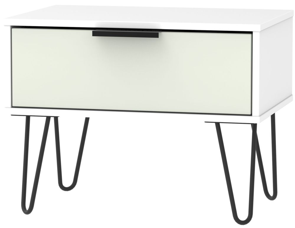 Hong Kong 1 Drawer Midi Chest with Hairpin Legs - Kaschmir and White