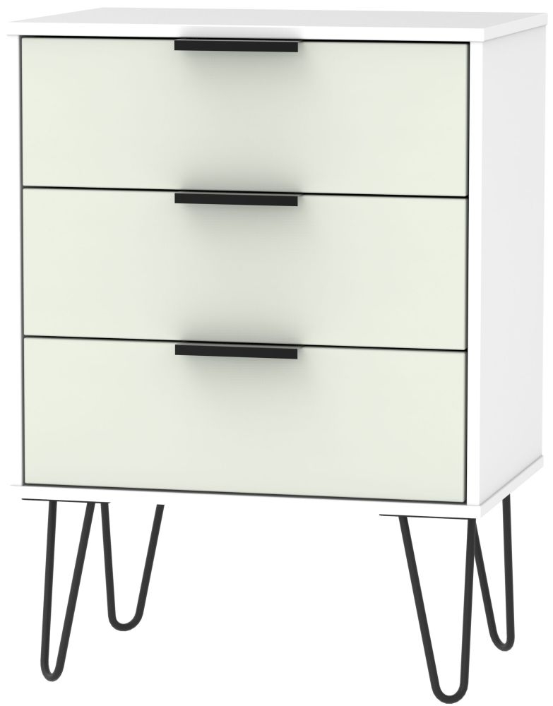 Hong Kong 3 Drawer Chest with Hairpin Legs - Kaschmir and White