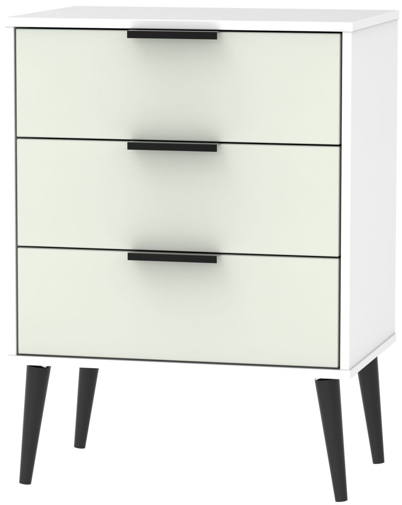 Hong Kong 3 Drawer Chest with Wooden Legs - Kaschmir and White