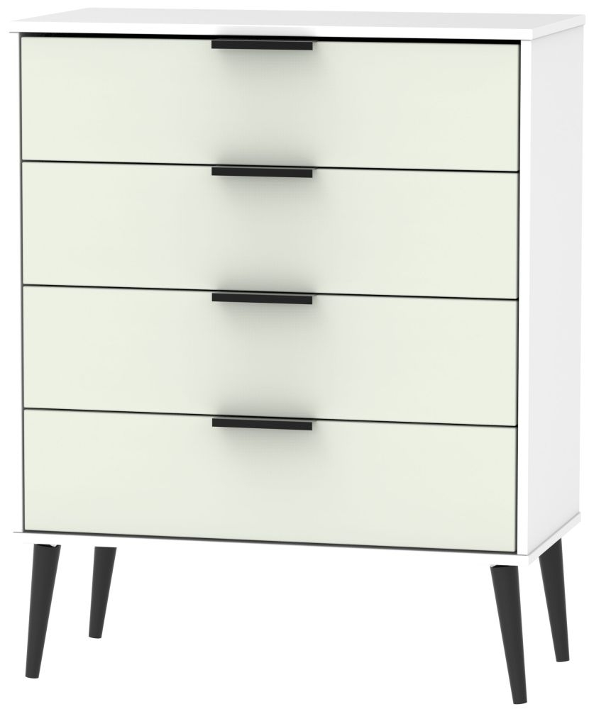 Hong Kong 4 Drawer Chest with Wooden Legs - Kaschmir and White