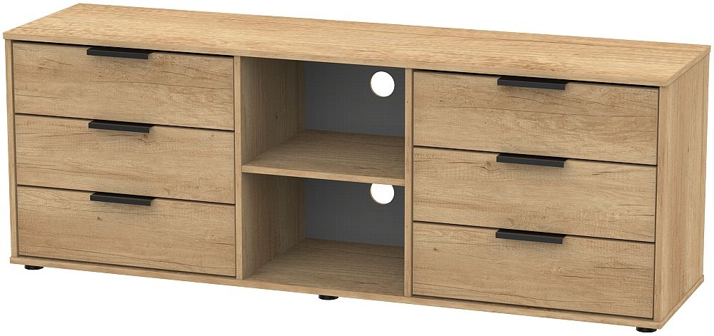 Hong Kong Nebraska Oak 6 Drawer TV Unit with Glides Legs
