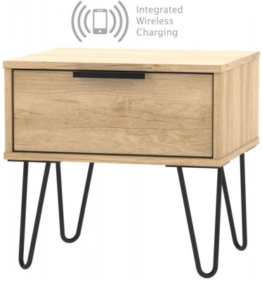 Hong Kong Nebraska Oak 1 Drawer Bedside Cabinet with Hairpin Legs and Integrated Wireless Charging