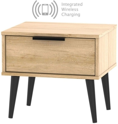 Hong Kong Nebraska Oak 1 Drawer Bedside Cabinet with Wooden Legs and Integrated Wireless Charging