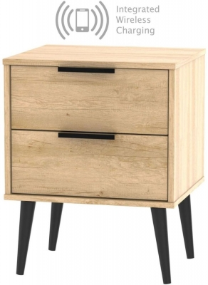 Hong Kong Nebraska Oak 2 Drawer Bedside Cabinet with Wooden Legs and Integrated Wireless Charging
