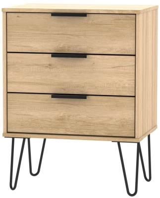 Hong Kong Nebraska Oak 3 Drawer Chest with Hairpin Legs