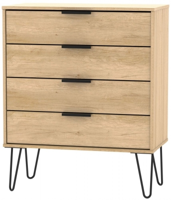 Hong Kong Nebraska Oak 4 Drawer Chest with Hairpin Legs