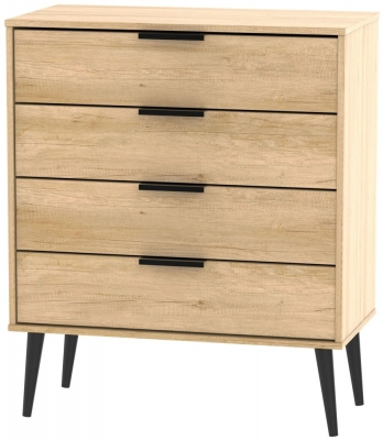 Hong Kong Nebraska Oak 4 Drawer Chest with Wooden Legs