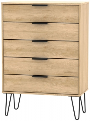Hong Kong Nebraska Oak 5 Drawer Chest with Hairpin Legs