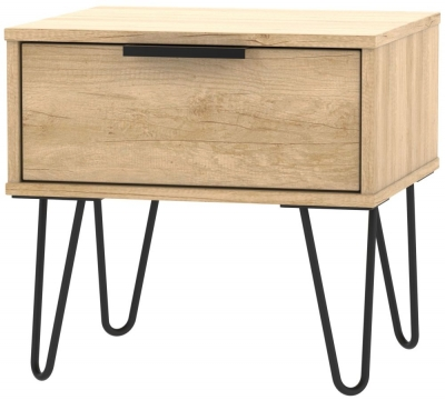 Hong Kong Nebraska Oak 1 Drawer Bedside Cabinet with Hairpin Legs