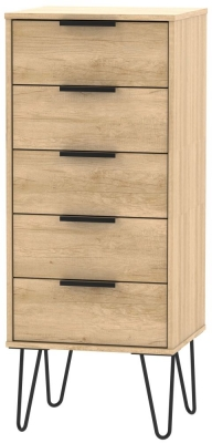 Hong Kong Nebraska Oak Tall Bedside Cabinet with Hairpin Legs