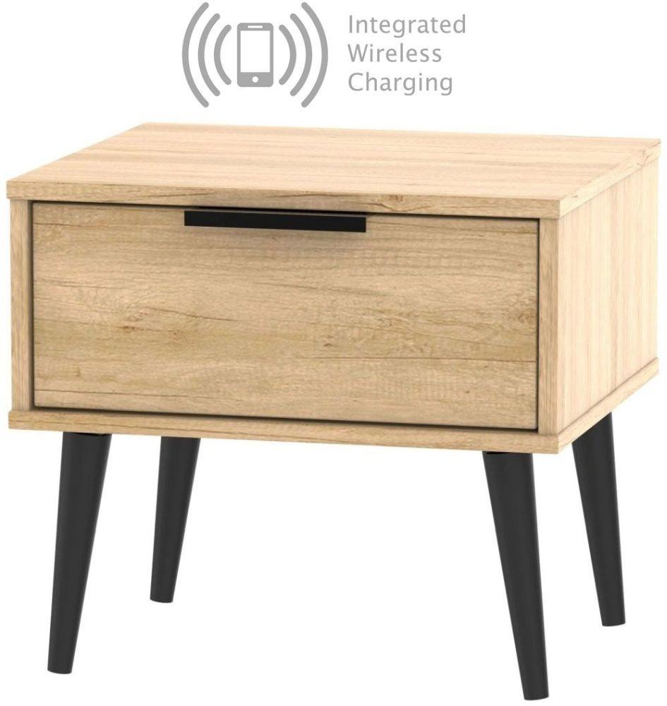 Hong Kong Nebraska Oak 1 Drawer Bedside Cabinet with Wooden Legs and Integrated Wireless Charging