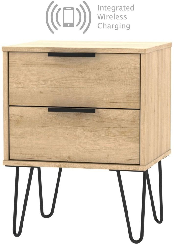 Hong Kong Nebraska Oak 2 Drawer Bedside Cabinet with Hairpin Legs and Integrated Wireless Charging