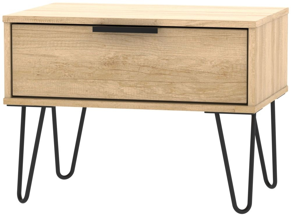Hong Kong Nebraska Oak 1 Drawer Midi Chest with Hairpin Legs