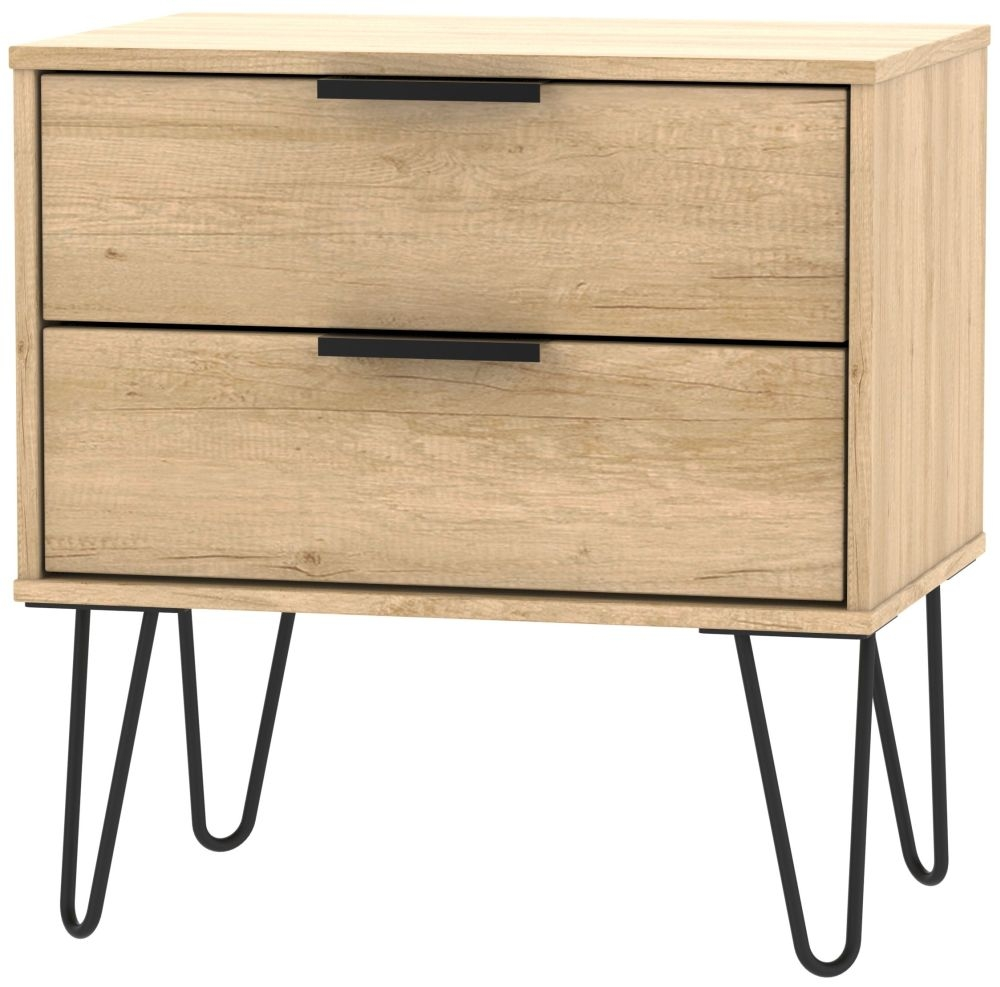 Hong Kong Nebraska Oak 2 Drawer Midi Chest with Hairpin Legs
