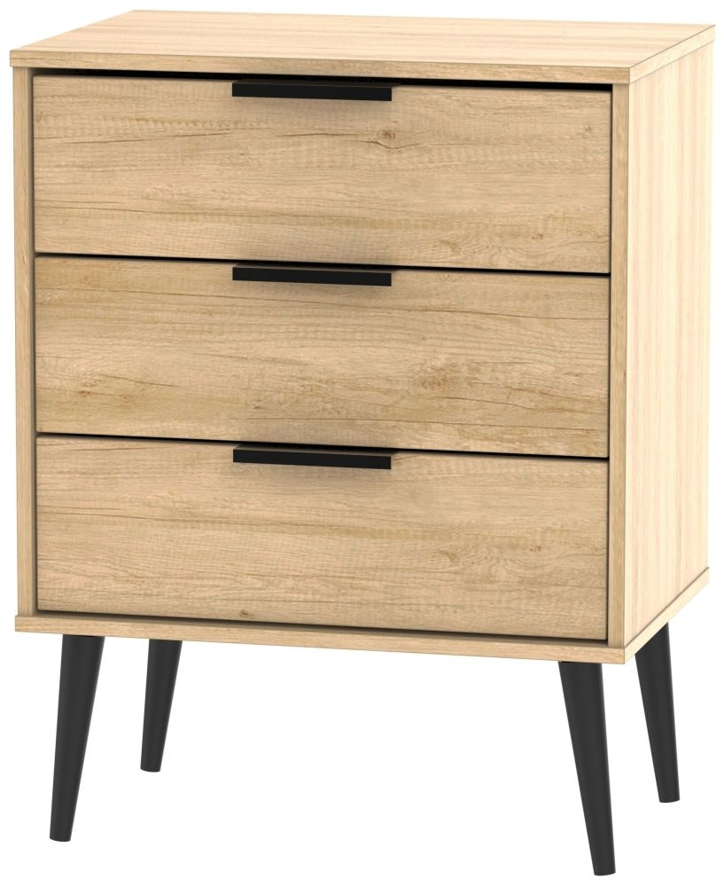 Hong Kong Nebraska Oak 3 Drawer Chest with Wooden Legs