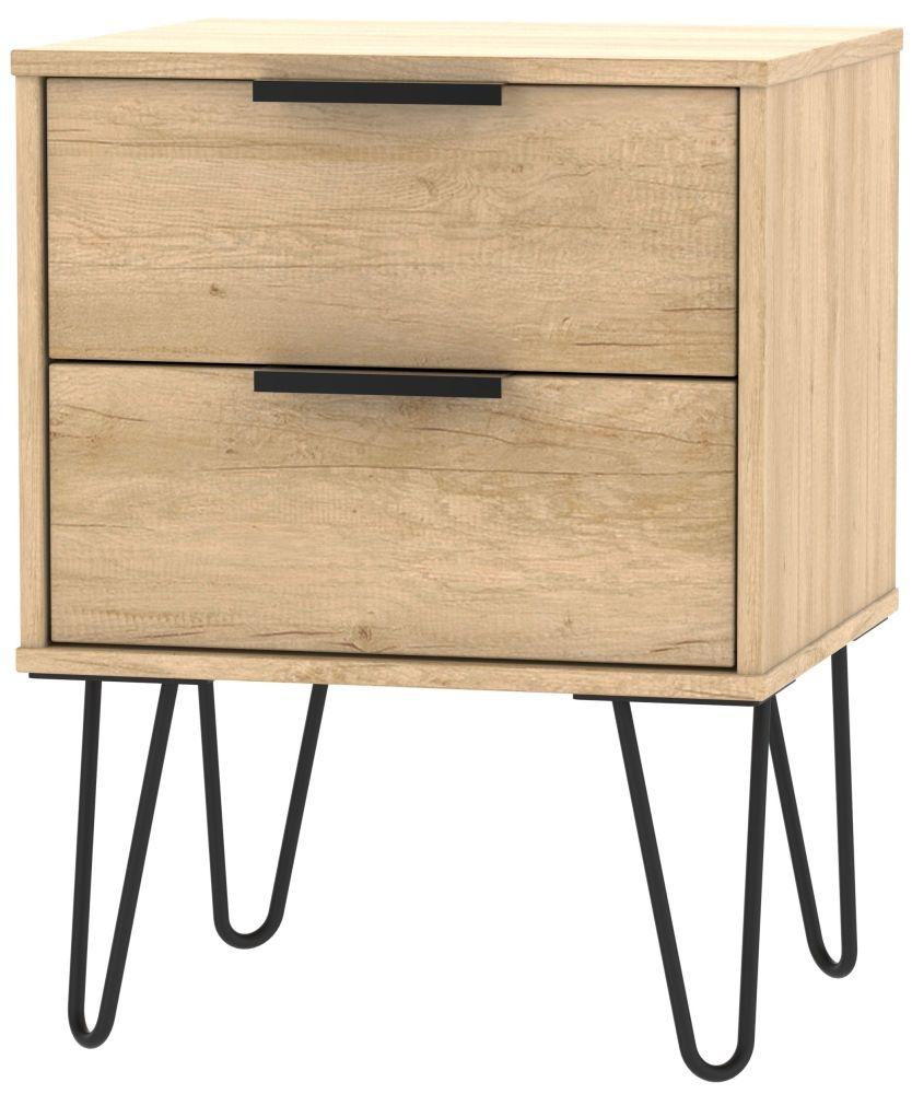 Hong Kong Nebraska Oak 2 Drawer Bedside Cabinet with Hairpin Legs
