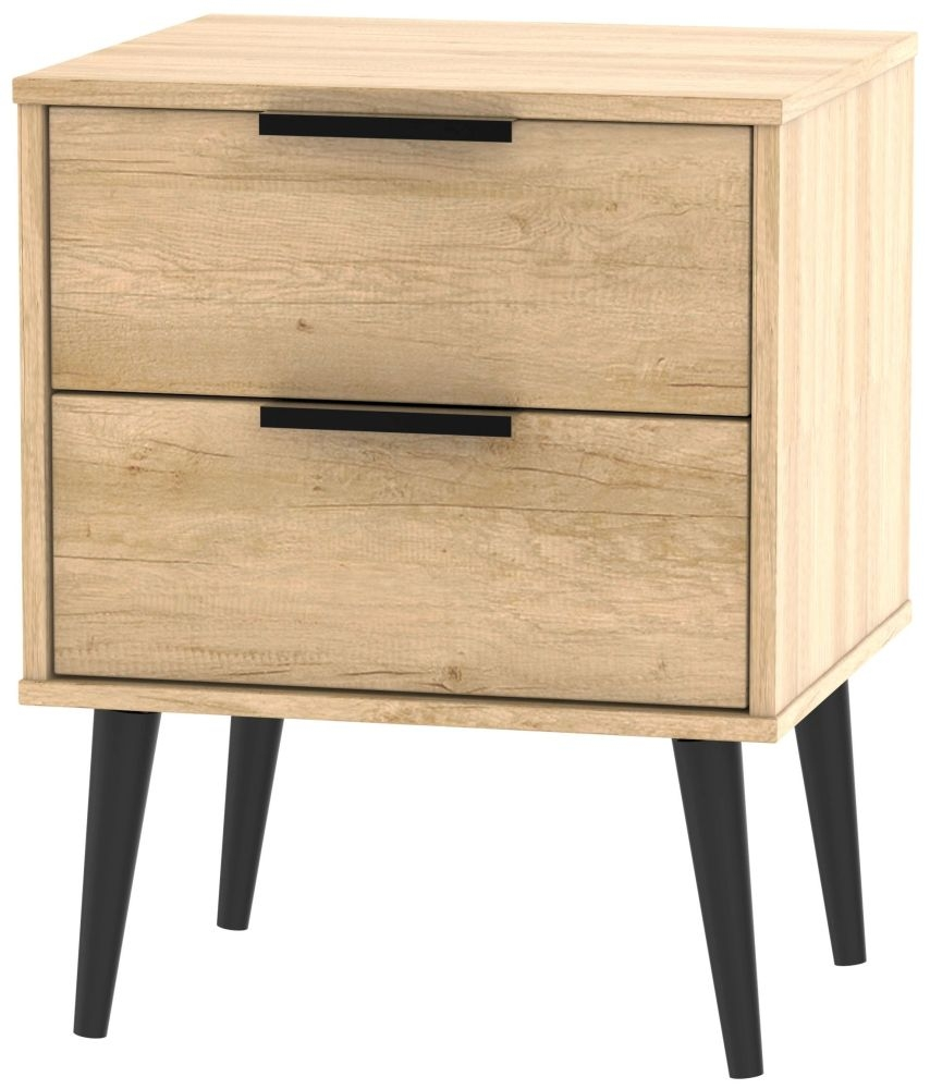 Hong Kong Nebraska Oak 2 Drawer Bedside Cabinet with Wooden Legs