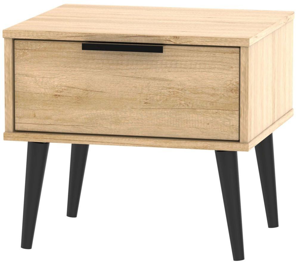 Hong Kong Nebraska Oak 1 Drawer Bedside Cabinet with Wooden Legs