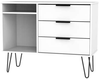 Hong Kong White 3 Drawer TV Unit with Hairpin Legs