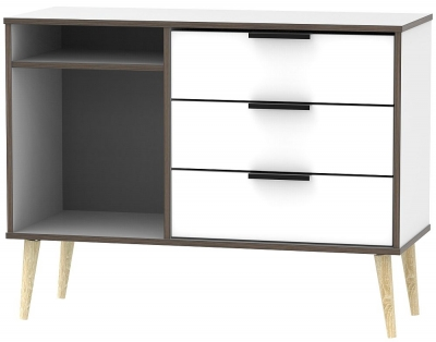Hong Kong White 3 Drawer TV Unit with Wooden Legs