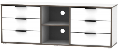 Hong Kong White 6 Drawer TV Unit with Glides Legs