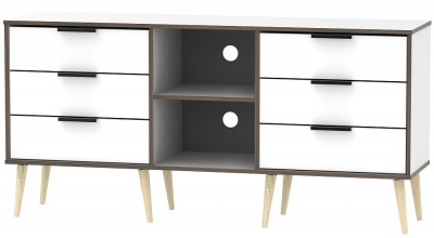 Hong Kong White 6 Drawer TV Unit with Wooden Legs