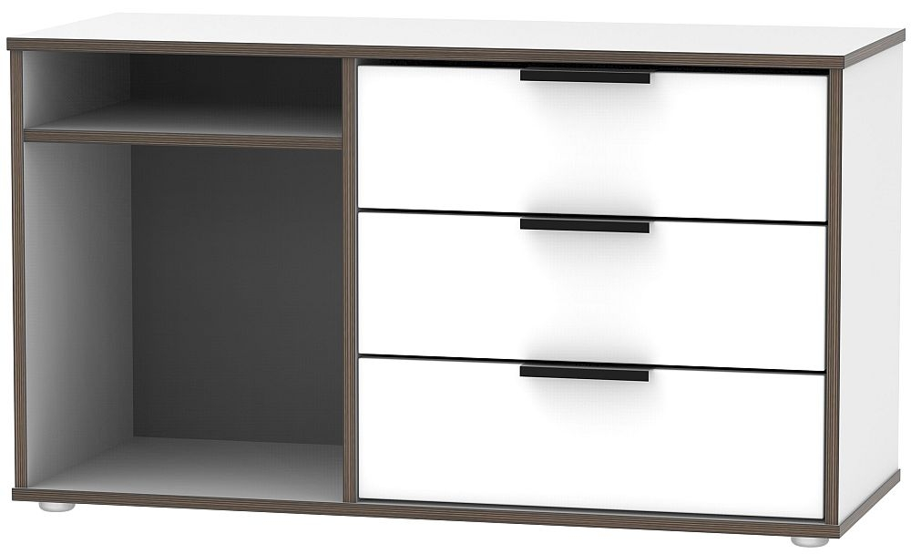 Hong Kong White 3 Drawer TV Unit with Glides Legs