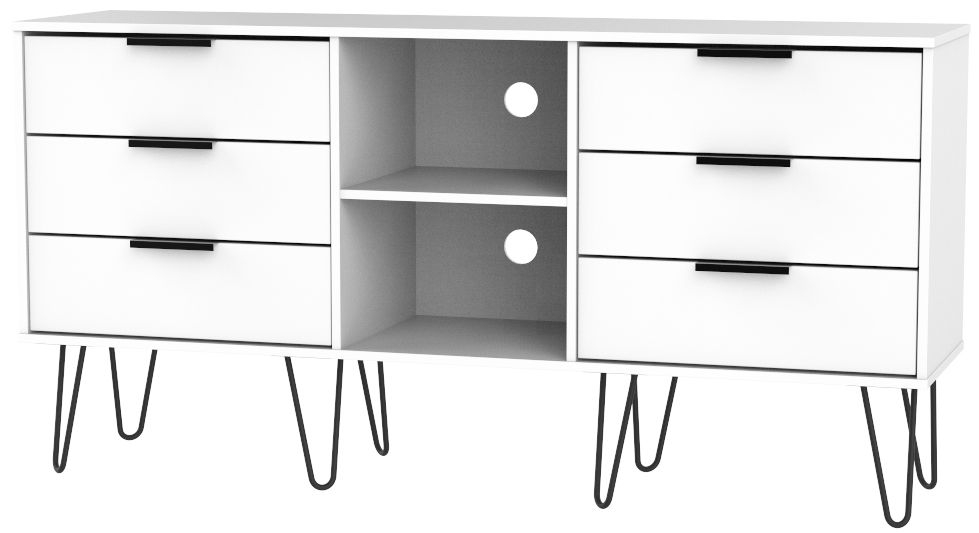 Hong Kong White 6 Drawer TV Unit with Hairpin Legs