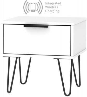 Hong Kong White 1 Drawer Bedside Cabinet with Hairpin Legs and Integrated Wireless Charging