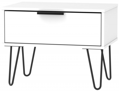 Hong Kong White 1 Drawer Midi Chest with Hairpin Legs