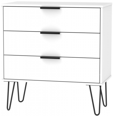 Hong Kong White 3 Drawer Chest with Hairpin Legs