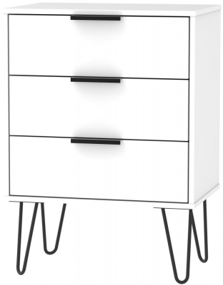 Hong Kong White 3 Drawer Midi Chest with Hairpin Legs